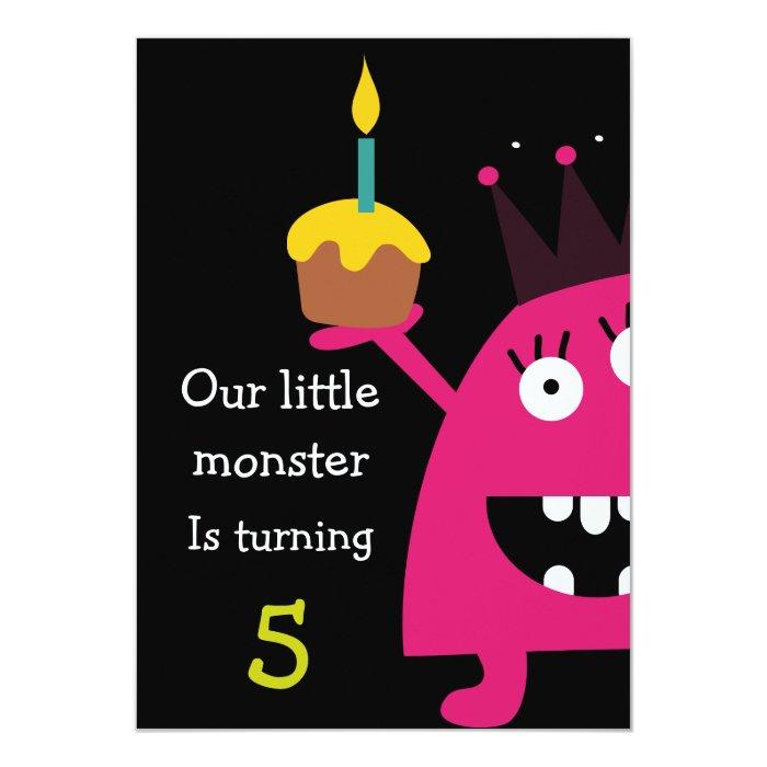 Cute Little Monster Kids Birthday Party Invite