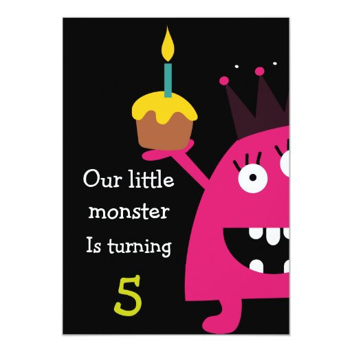 "Cute Little Monster Kids Birthday Party Invite 5"" X 7"" Invitation Card"
