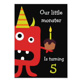 Cute Little Monster Kids Birthday Party Invite 5