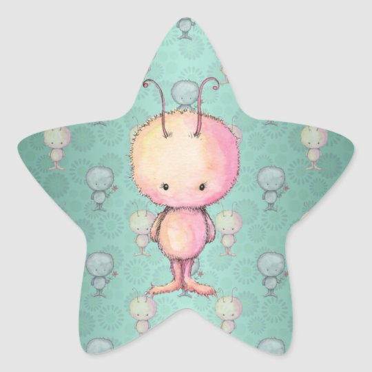 Cute Little Monster Star Sticker