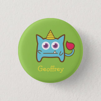 Cute Little Monster with Horn Kids Name Button