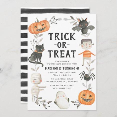 Cute Little Monsters Halloween Birthday Party Invitation