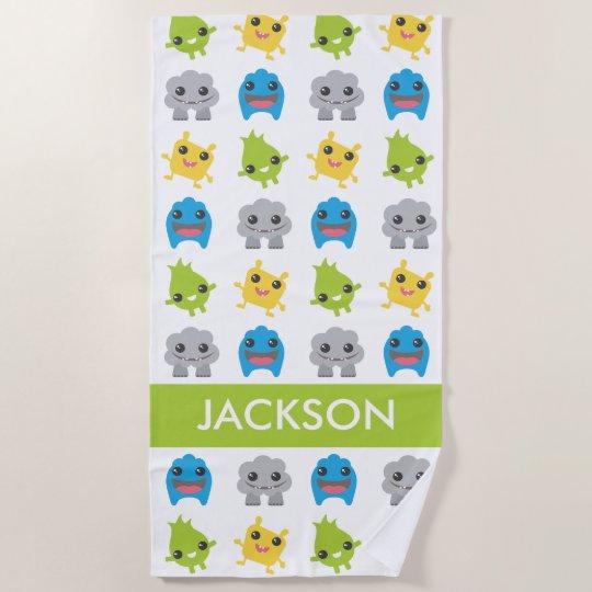 cute little monsters kids personalized beach towel zazzle com