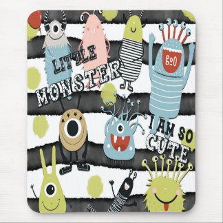 Cute Little Monsters Modern Chic Watercolor Stripe Mouse Pad