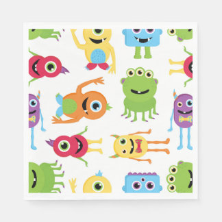 Cute Little Monsters Party Pattern Napkin