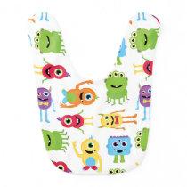 Cute Little Monsters Pattern Baby Bib