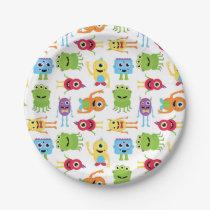 Cute Little Monsters Pattern Paper Plate