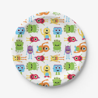 Cute Little Monsters Pattern Paper Plate