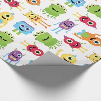 Cute Little Monsters Pattern Wrapping Paper