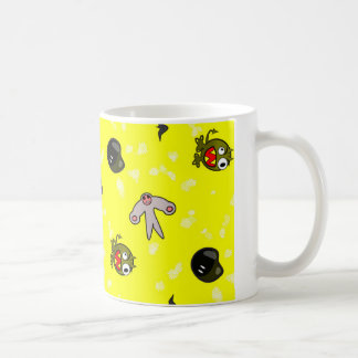 Cute Little Monsters Yellow Background Mugs