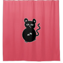 Cute Little Mouse Black and Pink Shower Curtain