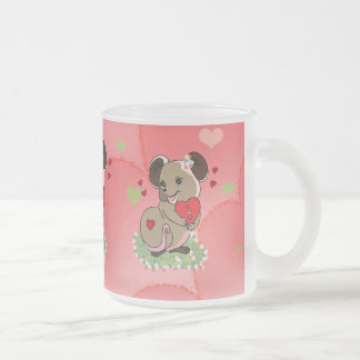 Cute little mouse holding a heart frosted glass coffee mug