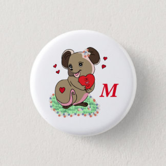 Cute little mouse holding a heart pinback button