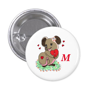 Cute little mouse holding a heart pinback button