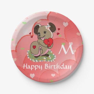 Cute little mouse holding a heart 7 inch paper plate