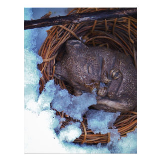 cute little mouse in the snow customized letterhead