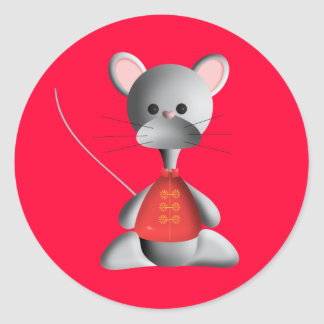Cute little mouse on red classic round sticker