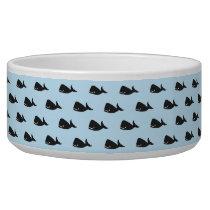 Cute Little Navy Blue Whale Pattern on Pastel Blue Bowl