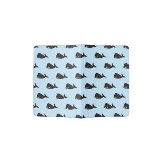 Cute Little Navy Blue Whale Pattern on Pastel Blue Passport Holder