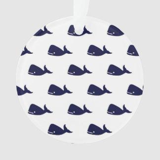 Cute Little Navy Blue Whale Pattern on White