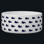 "Cute Little Navy Blue Whale Pattern on White Bowl<br><div class=""desc"">This cute little navy blue whale pattern on white background is perfect for the trendy and stylish animal lover. It's whimsical and fun pattern is perfect for any gift or occasion. Have fun with cool print!</div>"