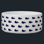 """Cute Little Navy Blue Whale Pattern on White Bowl<br><div class=""""desc"""">This cute little navy blue whale pattern on white background is perfect for the trendy and stylish animal lover. It&#39;s whimsical and fun pattern is perfect for any gift or occasion. Have fun with cool print!</div>"""
