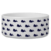 Cute Little Navy Blue Whale Pattern on White Bowl