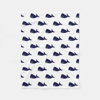 Cute Little Navy Blue Whale Pattern on White Fleece Blanket