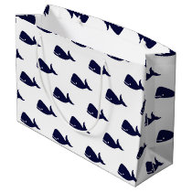 Cute Little Navy Blue Whale Pattern on White Large Gift Bag