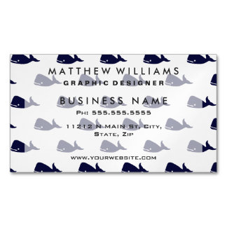 Cute Little Navy Blue Whale Pattern on White Magnetic Business Card