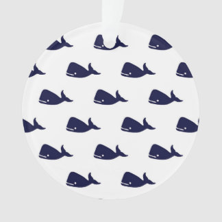 Cute Little Navy Blue Whale Pattern on White Ornament