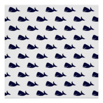 Cute Little Navy Blue Whale Pattern on White Poster