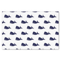 Cute Little Navy Blue Whale Pattern on White Tissue Paper