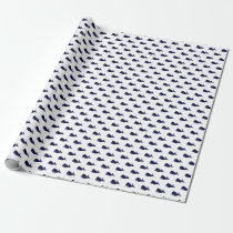 Cute Little Navy Blue Whale Pattern on White Wrapping Paper