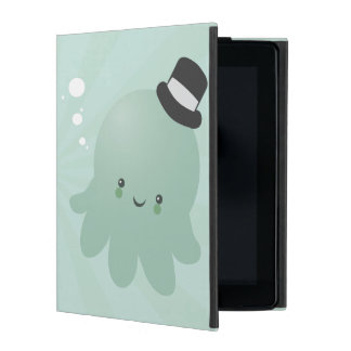 Cute Little Octopus wearing a black Top Hat iPad Cover