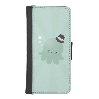 Cute Little Octopus wearing a black Top Hat iPhone 5 Wallet Cases