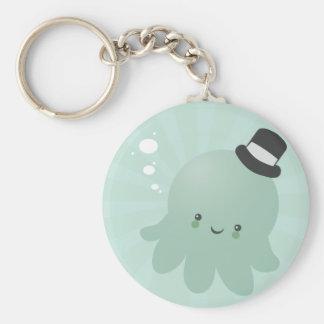 Cute Little Octopus wearing a black Top Hat Key Chain
