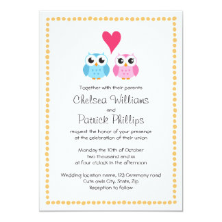 Cute little owl couple with dot border wedding card
