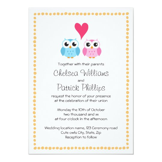 Cute Little Owl Couple With Dot Border Wedding Invitation