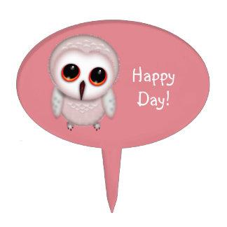 Cute Little Owl Illustration Cake Topper