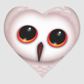 Cute Little Owl Illustration Heart Sticker
