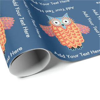 Cute Little Owl Personalized Bird Lover Wrapping Paper