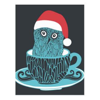 Cute Little Owl Pet In The Tea Cup Postcard