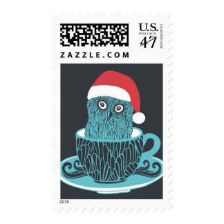 Cute Little Owl Pet In The Tea Cup Stamp