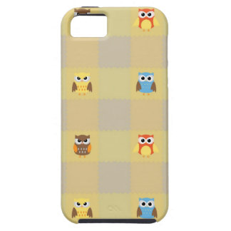 Cute Little Owls on Tan and Yellow Background iPhone 5 Cases