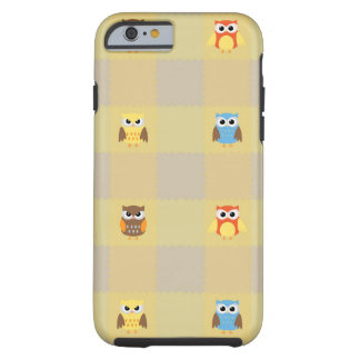 Cute Little Owls on Tan and Yellow Background Tough iPhone 6 Case