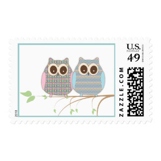 Cute Little Owls Snuggle on a Branch Postage Stamp