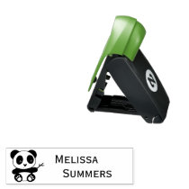 Cute Little Panda Holding a Bamboo Stick Name Pocket Stamp