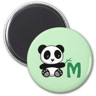 Cute Little Panda with a Bamboo Stick Monogram Magnet