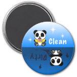 Cute Little Pandas Clean Dirty 3 Inch Round Magnet